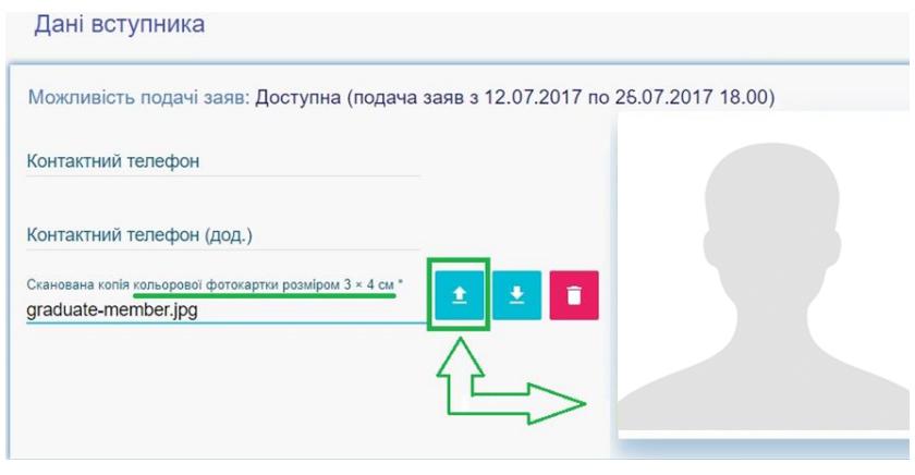 Завантаження КОЛЬОРОВОЇ ФОТОКАРТКИ вступника (3х4 см)