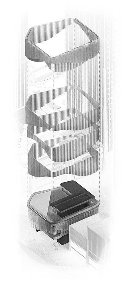 Елементи рухомих стрічок фасаду Культурного центру Бунд