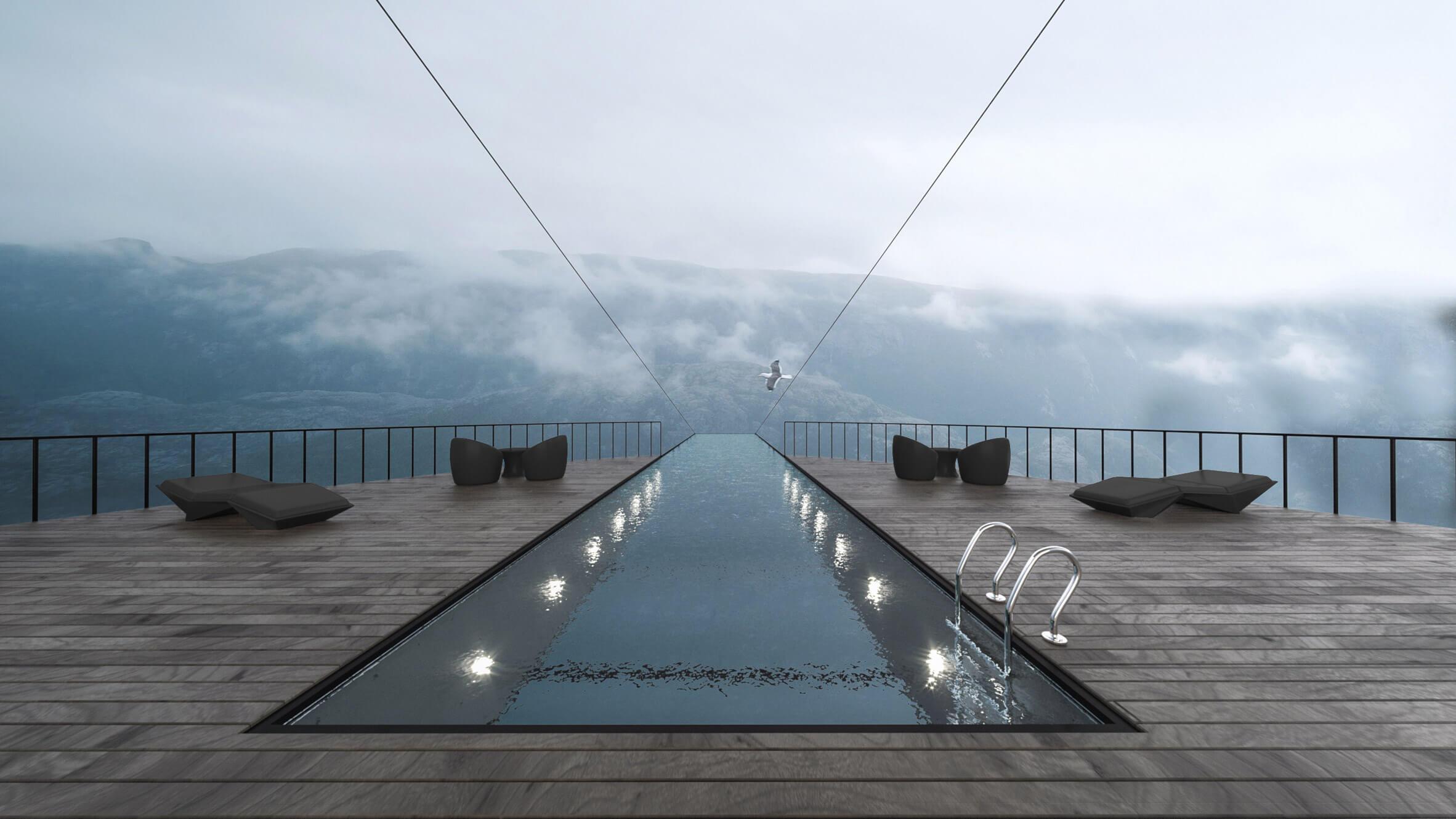 Скляний басейн над норвезьким фйордом