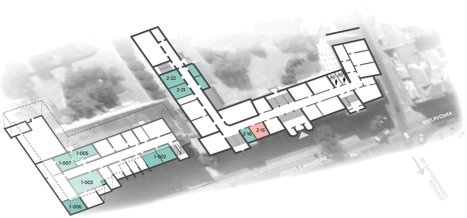 розміщення аудиторій кафедри будівельної механіки корпус тнту №1, підвальний поверх, корпус тнту №2 перший поверх