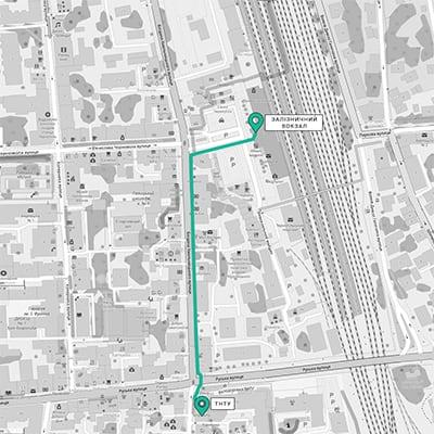 маршрут від залізничного вокзалу до ТНТУ
